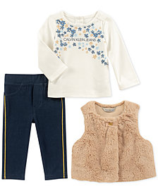 Calvin Klein Baby Girls 3-Pc. Faux-Fur Vest, Tunic & Leggings Set