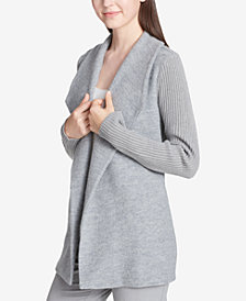 Calvin Klein Ribbed-Sleeve Sweater Jacket