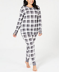 Cuddl Duds Plus Size Crew-Neck Waffle Thermal Top & Leggings