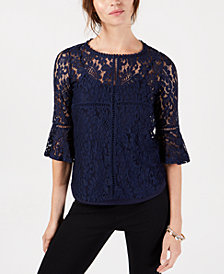 John Paul Richard Petite Lace 3/4-Sleeve Top