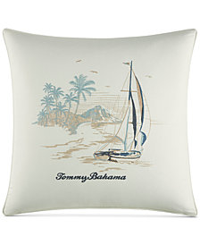 "Tommy Bahama Home La Prisma Stripe Cotton Medium Blue 20"" Square Decorative Pillow"