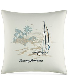 "Tommy Bahama Home La Prisma Stripe Cotton Medium Blue 20"" Square Decorative Pillow"