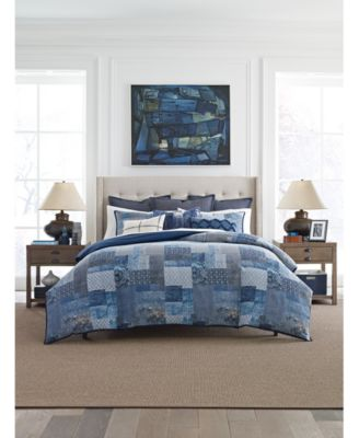 Oasis Indigo Patchwork Cotton 2-Pc. Twin Duvet Cover Set