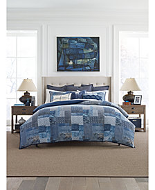 Tommy Hilfiger Oasis Indigo Patchwork Cotton 3-Pc. Full/Queen Duvet Cover Set