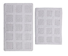 Square Honeycomb 2 Pc Cotton Bath Rug Set