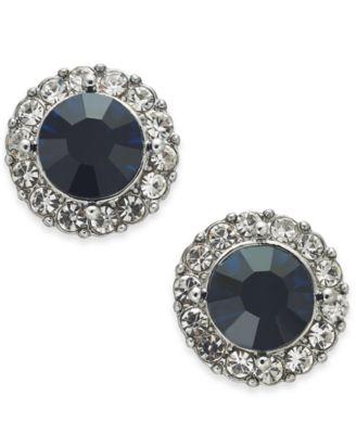 Gold-Tone Pavé & Stone Halo Stud Earrings, Created for Macy's