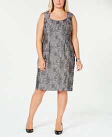 Kasper Plus Size Jacquard Square-Neck Sheath Dress