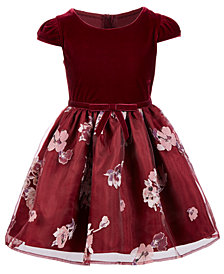 Pink & Violet Little Girls Velvet Floral-Print Dress