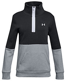 Under Armour Big Girls Double-Knit 1/2-Zip Colorblocked Sweatshirt