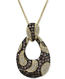 "Le Vian Chocolatier® Diamond Loop 18"" Pendant Necklace (1-1/2 ct. t.w.) in 14k Gold"