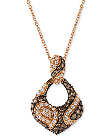 Le Vian Chocolatier® Diamond Open Loop 18' Pendant Necklace (3/4 ct. t.w.) in 14k Rose Gold