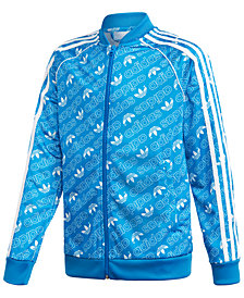 adidas Big Boys Originals Monogram-Print Zip-Up Track Jacket