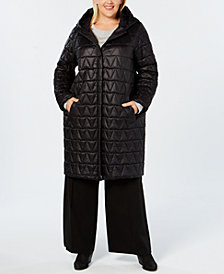 Eileen Fisher Plus Size Quilted Long Coat