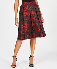MSK Jacquard Pleated Midi Skirt