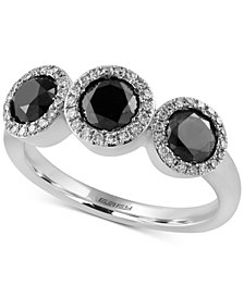 EFFY® Diamond Trio Halo Ring (1-3/8 ct. t.w.) in 14k White Gold