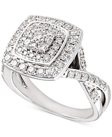 Diamond Halo Cluster Twist Engagement Ring (1 ct. t.w.) in 14k White Gold