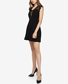 BCBGeneration Pleated Lace-Contrast Dress