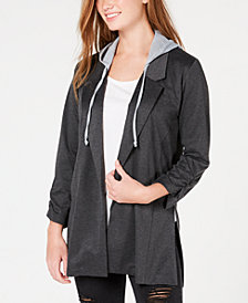 Almost Famous Juniors' Ruched-Sleeve Hoodie Blazer Jacket