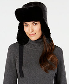 DKNY Quilted Puffer Faux-Fur Trapper Hat, Created for Macy's