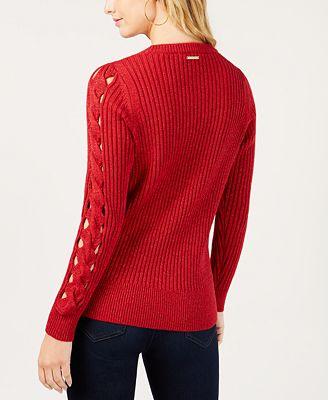 Michael Kors Ribbed Sleeve Cutout Sweater Sweaters Women Macys