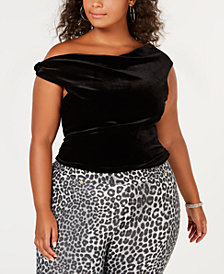 Rebdolls Plus Size Over-The-Shoulder Velvet Top from The Workshop at Macy's