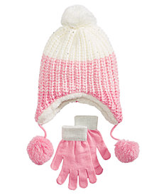 Berkshire Little & Big Girls 2-Pc. Ombré Heidi Hat & Gloves Set