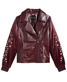 Jessica Simpson Big Girls Embroidered Faux-Leather Moto Jacket