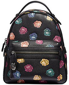 COACH Rainbow Rose Printed Leather Campus Backpack