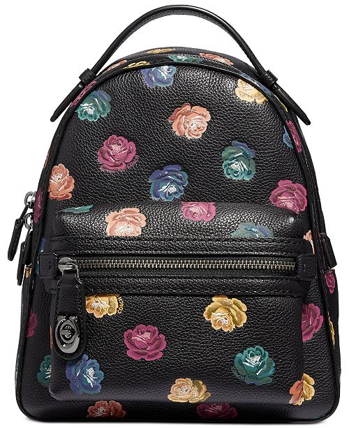 e497b206ad51 COACH Rainbow Rose Campus Backpack in Pebble Leather   Reviews ...