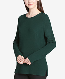 Calvin Klein Button-Shoulder Sweater