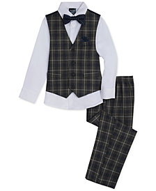 Nautica Toddler Boys 4-Pc. Windowpane-Print Vest, Pants, Shirt & Bowtie Set