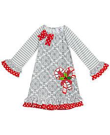 Rare Editions Toddler Girls Ruffle-Trim Candy Cane Dress