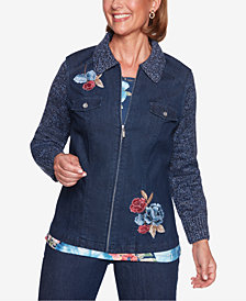 Alfred Dunner Petite News Flash Knit-Sleeve Embroidered Denim Jacket