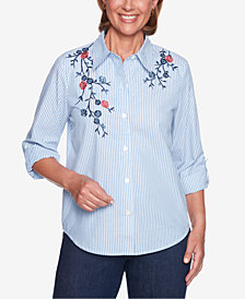 Alfred Dunner Petite News Flash Floral-Appliqué Shirt