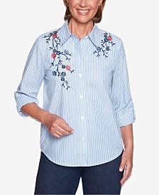 Alfred Dunner Petite News Flash Floral-Appliqué Shirt