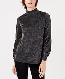 Alfani Mock-Neck Drape-Sleeve Metallic Top, Created for Macy's