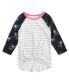 Belle Du Jour Big Girls Mixed Media Twist-Front Raglan T-Shirt