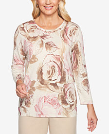 Alfred Dunner Petite Home for the Holidays Metallic Rose Sweater