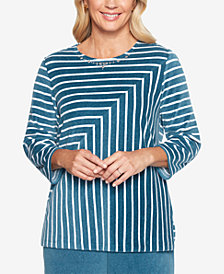 Alfred Dunner Petite Comfortable Situations Striped Velour Top