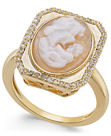 Cornelian Shell, Agate & Diamond (1/4 ct. t.w.) Mother & Child Cameo Ring in 14k Gold
