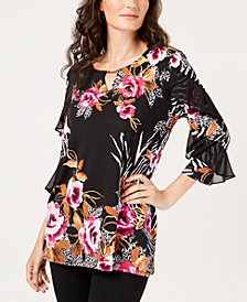 JM Collection Ruffled 3/4-Sleeve Tunic, Created For Macy's