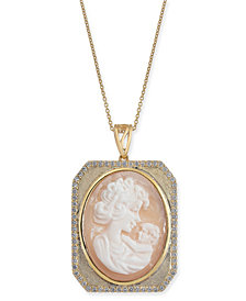 "Cornelian Shell, Agate & Diamond (1/4 ct. t.w.) Mother & Child Cameo 18"" Pendant Necklace in 14k Gold"