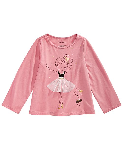 a2cc065bbd25 First Impressions Baby Girls Ballerina-Print Cotton T-Shirt