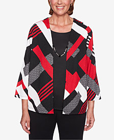 Alfred Dunner Petite Sutton Place Patchwork Layered-Look Necklace Top