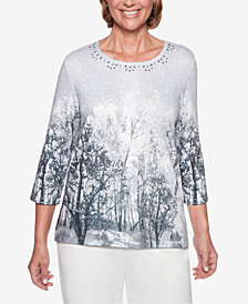 Alfred Dunner Petite Stocking Stuffers Embellished-Neck Tree-Print Top