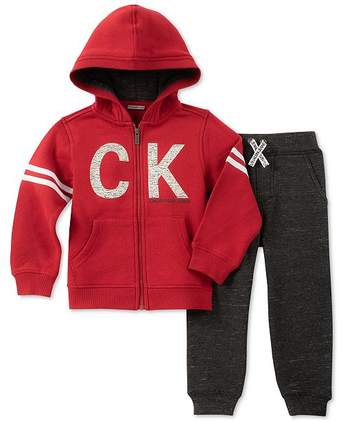 dd2625ae7 Calvin Klein Toddler Boys 2-Pc. Full-Zip Hoodie & Jogger Pants Set ...