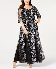 Alex Evenings Plus Size Embroidered Mesh Gown