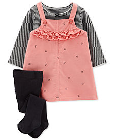 Carter's Baby Girls 3-Pc. Cotton Jumper, Shirt & Tights Set