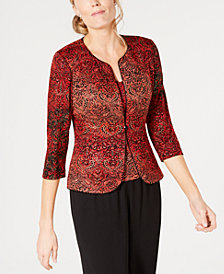 Alex Evenings Petite Metallic-Print Jacket & Top