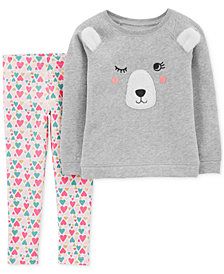 Carter's Baby Girls 2-Pc. Bear Top & Heart-Print Leggings Set